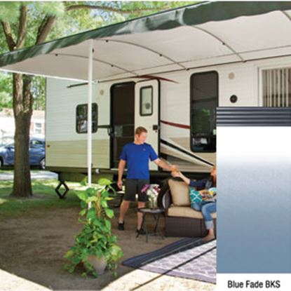 """Picture of Lippert Solera Destination Blue Fade Vinyl 17'L X 9' 8""""Ext Spring Assist Patio Awning V000335397 90-2618"""